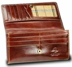 "Visconti Monza-10 Ladies Large Soft Leather Checkbook Wallet (Brown) Visconti. $49.99. 12 credit card slots, 2 slots for dollars bills, 1 window ID, Zippered coin section. Smooth soft glazed leather. Soft Genuine Leather compact card holder wallet from the popular Visconti brand. Contrast and double stitching + Gift Boxed. leather. Color : Italian Brown, Red ; Dimensions : 7""*3.9""*1"""