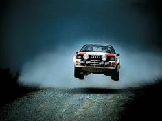 Sublime poetry in motion: An Audi quattro, piloted by female crew Michèle Mouton and Fabrizia Pons, on the rally stage.