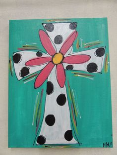 Hand painted 11x14 Cross Canvas by DistressedAccents on Etsy, $20.00