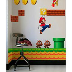 Another potential idea for a baby room...our future lil Princess Peach or Luigi will feel safe and sound w/Mario on guard!