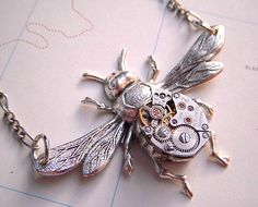 Steampunk Bee Necklace Antiqued Silver Finish by CosmicFirefly, $35.00