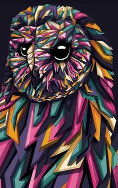 'Geometric Owl' by Blackbunny