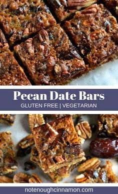 These healthy pecan date bars are much easier to make than a pecan pie but just as delicious! Plus they are only 123 cal per serving! Gluten Free Baking, Gluten Free Desserts, Gluten Free Recipes, Pecan Bars, Healthy Dessert Recipes, Gourmet Recipes, Healthy Bars, Healthy Baking, Eating Healthy