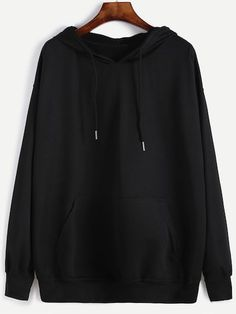 Black Hooded Drawstring Sweatshirt - Sweat Shirt - Ideas of Sweat Shirt - Hoodie Sweatshirts, Hoodies, Sweat Shirt, Shein Pull, Jugend Mode Outfits, Plus Size Outerwear, Mode Streetwear, Sweaters And Jeans, Fashion Mode