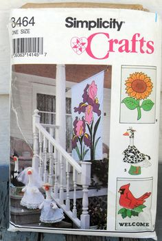 Sewing Pattern Simplicity 8464 Outdoor Lawn Geese Clothes Yard Garden Flag Applique Welcome Cardinal Bird Cow Watermelon 1993 FF UNCUT by LanetzLiving on Etsy Vintage Barbie, Vintage Sewing, Clothing Patterns, Dress Patterns, Goose Costume, Watermelon Costume, Goose Clothes, Flag Dress, Cap And Gown