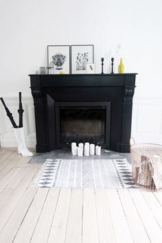 black and white mantle decor with pop of yellow. / sfgirlbybay