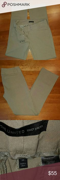 "THE LIMITED Stretchy brownpants sz. 6Rx32.5 Very comfy pants, cam be dressed up or down, casual or work pants. Triple hook and zipper w/inside button closure. 2 shallow back pockets,two adorable front pockets. Rose 8"",leg opening 8"". The Limited Pants Trousers"