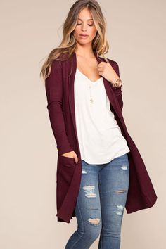 -Burgundy goes well with so many of your fall favorites! The Kokette Long Cardiga… Burgundy goes well with so many of your fall favorites! The Kokette Long Cardigan pairs well over a long tank with some jeans and ankle booties! Casual Fall Outfits, Fall Winter Outfits, Casual Dresses, Cute Outfits, Cute Fashion, Fashion Outfits, Women's Fashion, Dress Fashion, Red Satin Dress