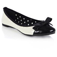 Contrast Toe Cap Ballerina Shoe with bow