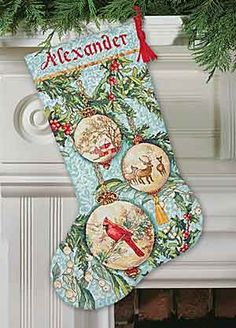 Enchanted Ornaments Christmas Stocking Cross Stitch Kit from Dimensions Gold Collection