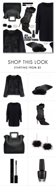 """Monochrome: All Black Everything Street Style"" by jecakns ❤ liked on Polyvore featuring Chicwish, Gucci, Glamour Status, StreetStyle, Boots, allblack, fauxfur and rosegal"