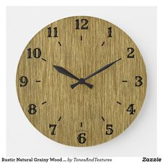 Rustic Natural Grainy Wood Look Clock - Perfect for living room, kitchen, family room, or man cave!