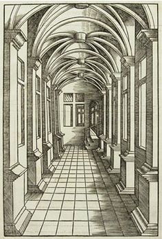 Linear Perspective, which was invented in the early 1400s, aims at creating the illusion of spatial depth on a 3D surface. It follows consistent geometric rules for rendering objects as they appear to the human eye (ie. parallel line converging in the distance, even though they don't in reality). Image: Rodler's German publication of 1539