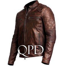 Mens Vintage Biker Motorcycle Distressed Brown Cafe Racer Genuine Leather Jacket, vintage jacket, vintage leather jacket for men Distressed Leather Jacket, Men's Leather Jacket, Biker Leather, Leather Men, Leather Jackets, Real Leather, Sheep Leather, Cowhide Leather, Moto Jacket
