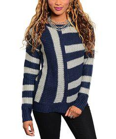 Navy & Gray Stripe Sweater