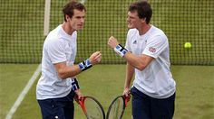 Andy Murray and Jamie Murray of Great Britain play against Alexander Peya and Jurgen Melzer of Austria during their men's Doubles Tennis match on Day 1.