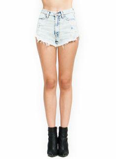 High-Waisted Acid Wash Shorts