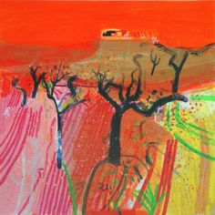 Buy a silkscreen print Winter Almonds from a limited edition of 125 prints by British printmaker Barbara Rae. For Arts Sake - art prints online. Pastel Landscape, Abstract Landscape, Landscape Paintings, Barbara Rae, Madrid, Art Prints Online, Silk Screen Printing, Cool Artwork, Photo Art