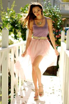 lavender tank top with pastel pink skirt