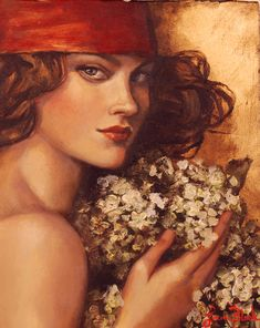 "Blank Studio Gallery | Lauri Blank Studio creating fine art original oil paintings ""The Crimson Scarf"""