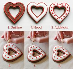 Simple Heart Valentine's Cookies by Glorious Treats