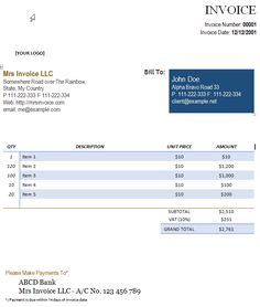 Word Document Invoice Template Blank Invoice Template Word Doc