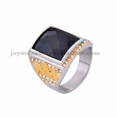 anillo de piedra negra en acero plateado inoxidable -SSRGG371801