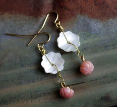 Shell Peach Earrings by CraftyHope on Etsy