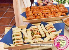 Mini pizzas and y enrrolladitos mesa merienda - Snack table