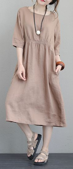 84b43aa7e90 fashion brown natural linen dress Loose fitting O neck elastic waist  traveling clothing Fine Half sleeve gown