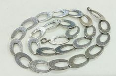 a5ff6851b WONDERFUL ANTIQUE 835 SILVER MODERNIST HAMMERED OVAL LINKS CHAIN NECKLACE  #Chain Vintage, Antique Jewelry