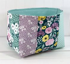Lavender Nursery Decor, Baby Girl Nursery Decor, Blue Dots, Aqua Blue, Purple, Organizer Bins, Organization, Watercolor Flowers, Fabric Storage Baskets
