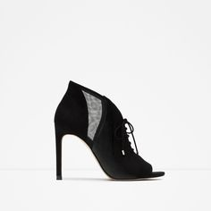 ZARA - WOMAN - LACE-UP LEATHER HIGH HEEL ANKLE BOOTS
