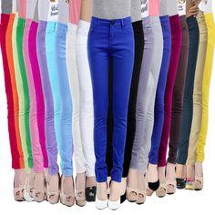 ec4688f6fb Nova chegada 2016 mulheres Casual doce cor calças Leggings estiramento  calças Slim Fit Elastic lápis all jogo de algodão Jeans em Calças de Roupas  e ...