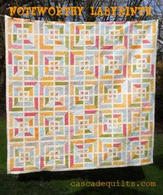 """Noteworthy Labyrinth Quilt « Moda Bake Shop-by Karin Vail-from Cascade Quilts...his quilt came together pretty quickly – it looks complicated, but if you keep your consistent 1/4"""" seam, you should have no problems :)  This quilt top finishes at approx. 87""""x87""""."""