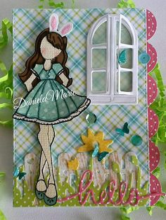 Easter card - By Daniela Alvarado. Prima Paper Dolls, Prima Doll Stamps, Paper Cards, Diy Paper, Julie Nutting, Cardmaking, Coloring Pages, Arts And Crafts, Scrapbook