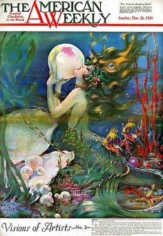 Illustrations by Henry Clive mermaid magazine cover Mermaid Fairy, Mermaid Tale, Mermaid Pics, Mermaid Images, Mermaid Lagoon, Fantasy Mermaids, Mermaids And Mermen, Mythical Creatures, Sea Creatures