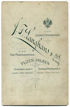 J. F. Langhans, Plzeň - Verso by oldichvondich (josefnovak33´s Alter Ego), via Flickr