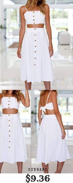 e1d726e1172f7 Sunward Women s 2 Pcs Spaghetti Strap Crop Tops + Skirt