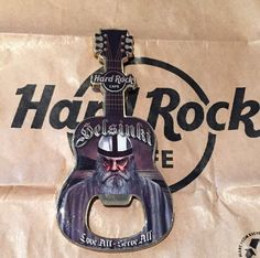Hard Rock Cafe Helsinki Finland Guitar Magnet Bottle Opener Gray Viking US Ship