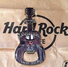 Hard Rock Cafe Helsinki Finland Guitar Magnet Bottle Opener Gray Viking US Ship