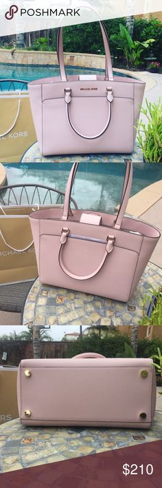 9686353ee7 Michael Kors Emmy Large Tote Bag Blossom pastel Magnetic snap closure  Double handles w  cross