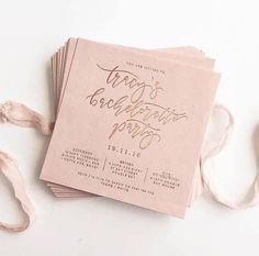 Bachelorette party invitation- light pink with gold calligraphy