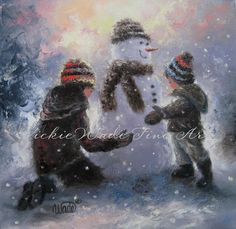 Snowman Girl and Boy Original Oil Painting brother and sister, original snowman painting canvas
