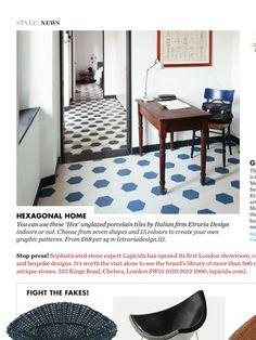 Concrete Tile - like blue tile in kitchen Tile Patterns, Shape Patterns, Concrete Tiles, Blue Tiles, Flooring, Bathroom, Kitchen, Crafts, House