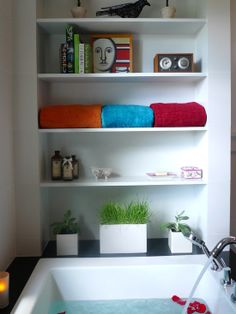 Exciting Modern Bathroom Storage Ideas With Modern Planters Mounted Wall Shelving Design At Bailey Bathroom Interior