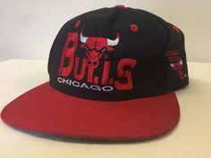 Chicago Bulls Vintage Snapback Cap Hat Black NBA Classic Logo 1990 039 S  f7e5307e5