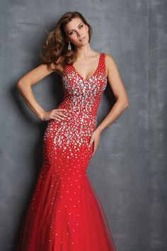 2014 Straps V Back Mermaid Prom Dresses Beaded Bodice With Rhinestone&Beads