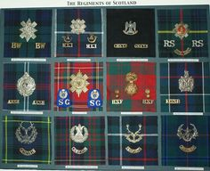 The Regiments of Scotland:L to R, Black Watch, Highland Light Infantry, Scots Greys, Royal Scots, Argyll and Sutherland Highlanders, Scots Guards, Royal Scots Fusiliers, Kings Own Scottish Borderers, Gordon Highlanders, Cameron Highlanders, Seaforth Highlanders, Cameronians.