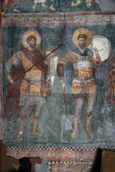 Weapon of medieval Serbian state, century, Patriarchate of Peć. Fresco, Byzantine Icons, Byzantine Art, Tempera, Military Costumes, Art Icon, Orthodox Icons, Mural Painting, Serbian